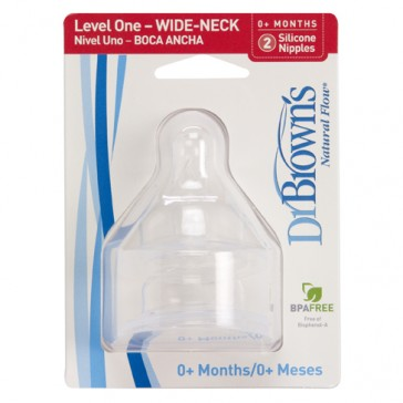 DR Brown's WIDE-NECK (2-Pack) Level-1 Silicon Nipple